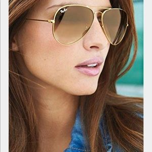 RAY-BAN Gold Gradient Brown Large Aviator Sunglass